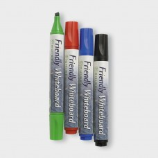 Whiteboardpenna Friendly Marker Whiteboard, Medium, Chisel/Snedskuren, 4 färger/fp