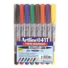 Märkpenna Artline 041T Twin Marker, permanent, dubbelspets (0,4mm & 1,0mm), 8 färger/fp