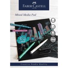 Mixed mediablock Faber-Castell, spiral, A3, 250g, 30 ark, Svart papper, 1 block/fp
