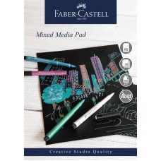 Mixed mediablock Faber-Castell, spiral, A5, 250g, 30 ark, Svart papper, 1 block/fp