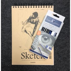Skisset: Skissblock spiral A4 110g, 70 blad + Pennset Faber-Castell Graphite Sketch Set Goldfaber