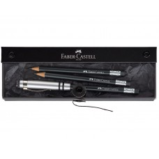 Presentset: Blyertspenna Faber-Castell Perfect Pencil Svart/Metall + 2 st reservpennor