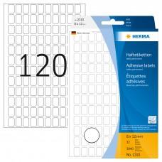 Märketikett/Universaletiketter Herma 2310, 8x12mm, permanent Vit, 3840 etiketter/fp (för handskriven märkning)