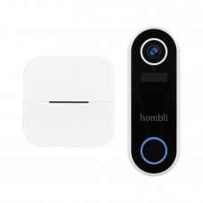 Set: Smart dörrklocka med kamera + rinklocka, WiFi, Hombli Smart Doorbell 2 + Chime, batteridriven, Vit