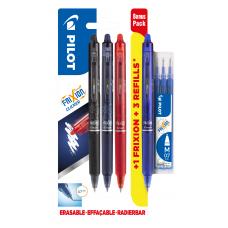 Korsordspenna Pilot Frixion Clicker 07 Rollerball BLRT-FR7 0,7mm, 4 färger/fp (svart, blå-svart, blå, röd) + 3 st Refill