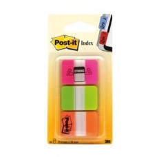 Märkflik Post-it Index Strong, Extra slitstarka, 25,4x38,1mm, Rosa, Grön, Orange (686-PGO), 22 flikar x 3 färger/fp