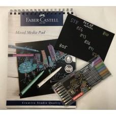 Ritset: Fiberpennset Stabilo Pen 68 Metallic 8 färger + Svart papper A4, 250g, 30 ark