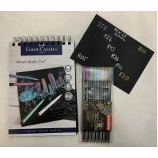 Ritset: Fiberpennset Stabilo Pen 68 Metallic 8 färger + Svart papper A5, 250g, 30 ark