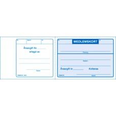 Medlemskort 115x78mm, Blå 50st/block, 5 block/fp