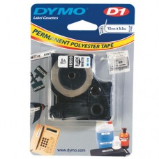Märkband Dymo D1 Permanent Polyester tape 12mm x 5,5m Svart/Vit