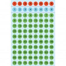 Märketiketter/Signaletiketter Herma 4129 Siffror 1-160, tre färger, Ø 8 mm