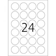 Etiketter Herma Movables 4476 A4 Ø 40mm Rund Vit 100 ark/fp