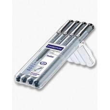 Staedtler Pigment liner 308 0,1mm 0,3mm 0,5mm & 0,7mm Svart, 4 pennor/fp