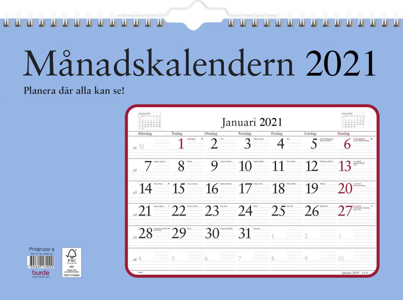 Väggkalender Burde 1700 Månadskalendern